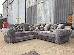 HUGE 50% OFF ON VERONA CHESTERFIELD GREY PLUSH FABRIC 3+2 SOFA SUITE AND CORNER UNIT ON SALE!!