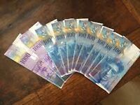 Swiss francs for sale. CHF