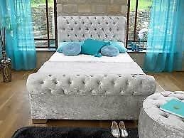 crush velvet king size bed for sale