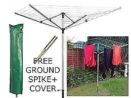 LIVIVO 4 Arm 45m folding rotary clothes airer, free ground spike and cover, new, under half price
