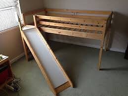 ikea vradal pine childrens mid sleeper single bed with slide sold sstc