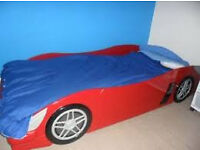RED RACING CAR ` SINGLE ` BED - NO MATTRESS INC, BARGAIN FOR SOMEONE AT £45