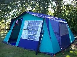 CHALET STYLE CANVAS FAMILY FRAME TENT SLEEPS 5. A PROPER TENT