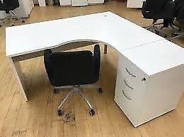 Large L Plan Desks w/ Lockable Pedestal & Screen Divider - Left Handed