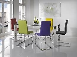 New Kansas Rectangular Glass dining table with chrome legs £179 In Stock Today boxed