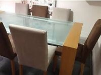 HEALS Solid Oak And Glass Dining Table