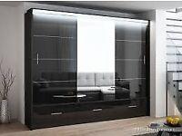 Merceliya 3 or 2 sliding doors wardrobe available in 208 cm or 255 cm in black or white for sale  Leighton Buzzard, Bedfordshire