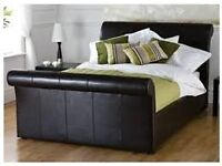 Kingsize sleigh bed brown faux leather and mattress
