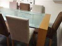 Heals of London Frosted Glass Dining Table