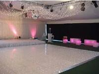Hire a Starlight Dance floor and wedding Venue decorations. Throne chairs and blooming trees etc.