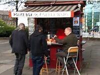 EDINBURGH POLICE BOX COFFEE BAR. AT BUSY EAST END TRAM TERMINUS AT JOHN LEWIS CENTRE LEITH STREET
