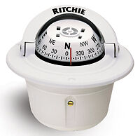 RITCHIE F-50 EXPLORER BOAT COMPASS WHITE FLUSH MOUNT F-50W NEW