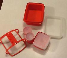Vintage 1980s TupperWare Lunchbox Red/Orange 11 pieces