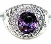 Mens Silver Amethyst Ring