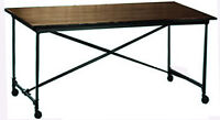 Industrial Folding Dining Table on Wheels, Chearance Price Final