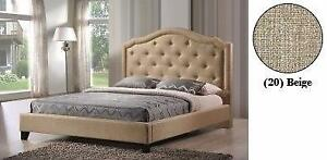 King Beige Linen Fabric Bed with Bronze Nailhead FREE DELIVERY Regular Retail $1599 Starting bid: $679.00