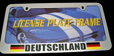 Germany German Deutschland Heavy Duty Chrome License Plate Frame Tag Holder