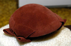 Vintage Lady Beatrice brown felt woman's hat with bows
