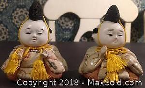 Pair of Japanese Dolls with Yellow Detail