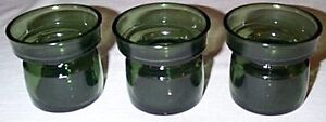 Set-3-Vintage-Dansk-JENS-QUISTGAARD-Green-Glass-VOTIVE-CANDLE-HOLDERS-Denmark