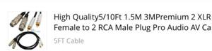 Premium 2 XLR Female to 2 RCA Male Pro Audio Plug Cable