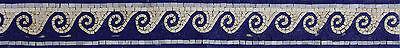 Wavy Wave Blue Border Mirror Frame Pool Bathroom Decor Marble Mosaic BD305 ()