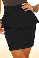 Black Peplum Hip Skirt