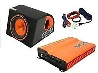 "edge 12"" bass pack complete with amp and wiring kit new and boxed"