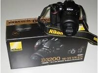 NIKON D3200 DSLR BODY+LENS 18-55MM,32GB MEMORY CARD,VR LENS,CHARGER, ALL CABLES, ALL SET FOR PHTOGPY