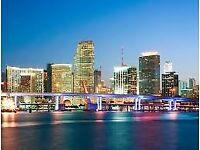 2 return flight tickets London - Miami 25.FEB - 13.MAR