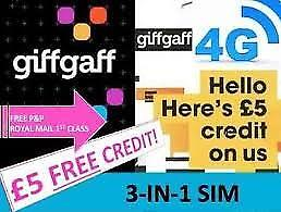 Giff Gaff Sim with £5 free credit no contract £20 pm unlimited everything