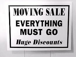 INDOOR MOVING SALE. EVERYTHING MUST GO.
