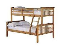 🎁🔥🎉 trio wooden bunk bed in oak color!!!!!
