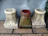 Chimney pots x 3 , one terracota , two Buff