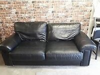 2 x 3 SEATER BLACK LEATHER SOFAS £40