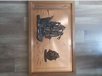 Wood Framed Copper Ship Picture