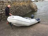 Honwave T38ie-2 inflatable boat & Yamaha 6hp outboard, rechargeable pump, life-jackets - almost new!