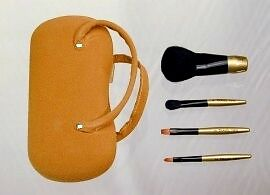 Cosmetic-Brush-Set-Travel-Size-4pc-Tan-Suede-Hard-Case