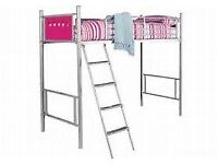 Metal high sleeper bed frame with pink end panels