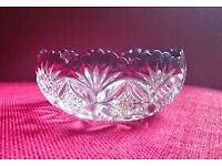 VINTAGE Small Round Clear Pressed Glass Crystal Berry Bowl Dish Red Ruby Cranberry Scalloped Rim