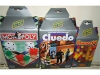 Monopoly, connect 4 and cluedo - hasbro travel edition games