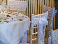 Wedding - White lace chair sashes x 50