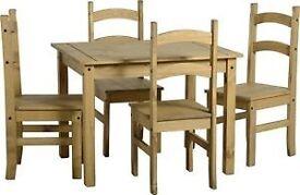 Corona wood table & 4 chairs