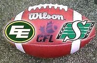 Edmonton Eskimos vs Sask Rough riders great seats available