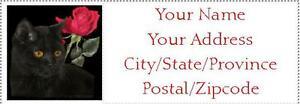 150 Black Cat Red Rose Return Address Labels