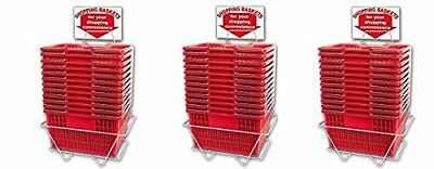 Shopping Basket Set Of 12 Durable Red Plastic With Sign And Stand 3-pack