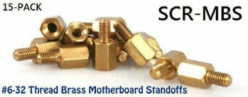 #6-32 Motherboard Standoff Screws for ATX PC Case, 15PK