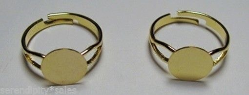 50 Gold Plated Adjustable Ring Blanks 10mm flat round pad ~ Settings