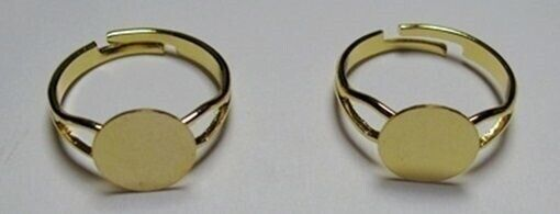 25 GOLD PLATED Adjustable RING BLANKS with Flat 10mm Round  pad for Cabs+Beads