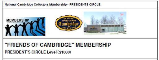 "NCC ""Friends of Cambridge"" Membership - President's Circle Level"